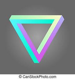 Vector penrose triangle design in neon colors. Stock illustration