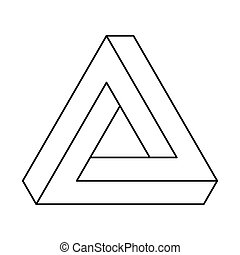 Penrose triangle, optical illusion, black outlines. Penrose tribar, an impossible object, appears to be a solid object, made of three straight bars. Isolated illustration on white background. Vector.