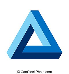 Penrose triangle, optical illusion, blue colored. Penrose tribar, an impossible object, appears to be a solid object, made of three straight bars. Isolated illustration on white background. Vector.