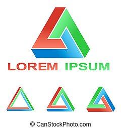 Penrose triangle technology company symbol logo set