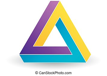 Penrose triangle- Tricolor 3d Business logo