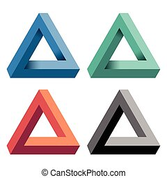 Penrose Triangle with a variety of color