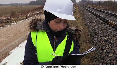 pensée, écriture, ferroviaire, ingénieur, femme