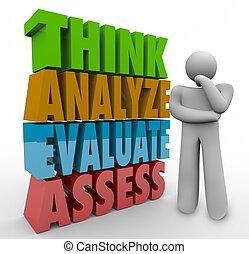 pensée, évaluer, évaluer, personne, mots, analyser, penser, 3d