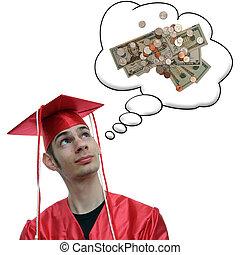 pensée, argent, sur, diplômé