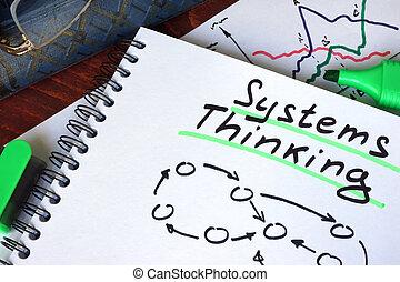 pensée, bloc-notes, systèmes