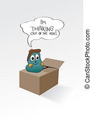 pensée, boîte, dehors