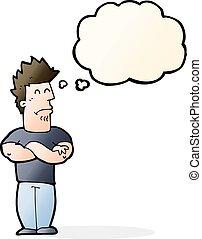 pensée, bouder, bulle, dessin animé, homme