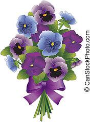 pensée, bouquet, fleur