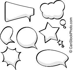 pensée, bulles, parole