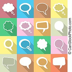 pensée, bulles, parole, coloré