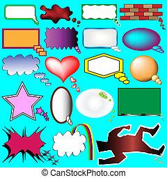 pensée, bulles, parole, dessin animé
