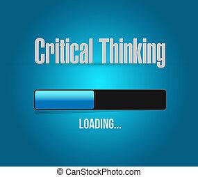 pensée, chargement, barre, critique, signe
