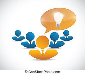 pensée, collaboration, conception, idée, illustration