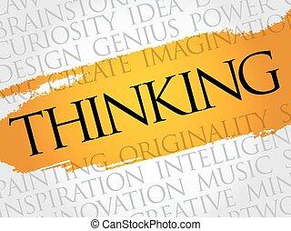 pensée, collage, mot, nuage