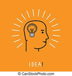 pensée, concept, humain, vecteur