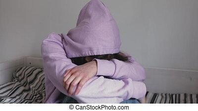 pensée, déprimé, pression, sentiment, suicide., écolière