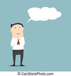 pensée, dessin animé, homme affaires, bulle, ou, nuage