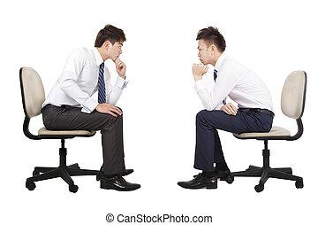 pensée, deux, regarder, autre, chaque, homme affaires