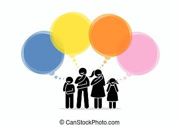 pensée, différent, things., membres, famille