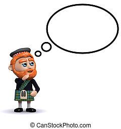 pensée, ecossais, bulle, 3d