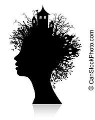 pensée, environnement, silhouette