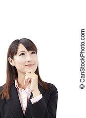 pensée, femme affaires, asiatique, regarder