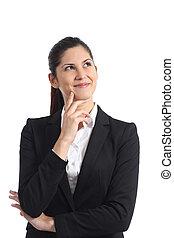 pensée, femme affaires, regarder, isolé, obliquement