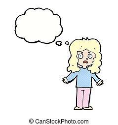 pensée, femme, bulle, dessin animé, inquiété