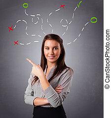 pensée femme, résumé, jeune, aérien, marques