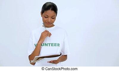 pensée, femme souriante, volontaire