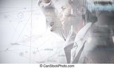 pensée, fond, numérique, autoroute, homme, animation