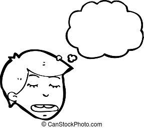 pensée, garçon, dessin animé
