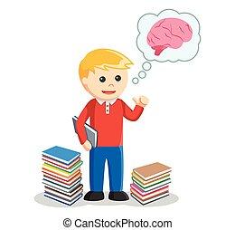 pensée, garçon, livre, tenue