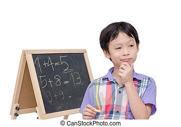 pensée, garçon, sur, solution, math