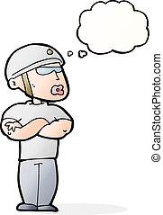 pensée, garde, bulle, sécurité, dessin animé