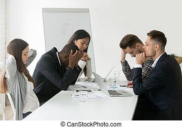 pensée groupe, accentué, solution, multiracial, équipe, problème