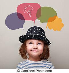 pensée, haut, idée, regarder, ampoule, gosse, bulle, heureux