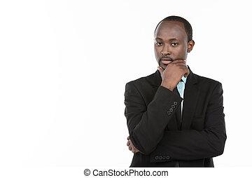 pensée, homme affaires, africaine, complet