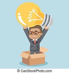 pensée, homme affaires, dehors, boîte, ampoule