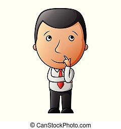 pensée, homme affaires, dessin animé