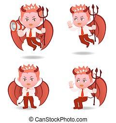 pensée, homme affaires, diable, dessin animé, négatif