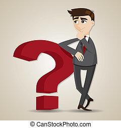 pensée, homme affaires, question, dessin animé, marque