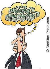 pensée, homme affaires, sur, argent