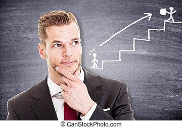 pensée, homme affaires, sur, jeune, carrière, sien
