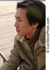 pensée, homme asiatique