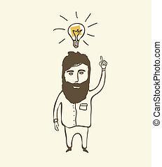 pensée, homme barbu, ampoule, lumière