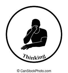 pensée, homme, icône