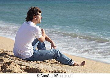 pensée, homme, mer, regarder