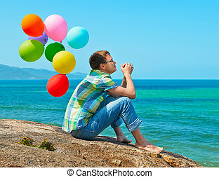 pensée, homme, plage, mer, regarder